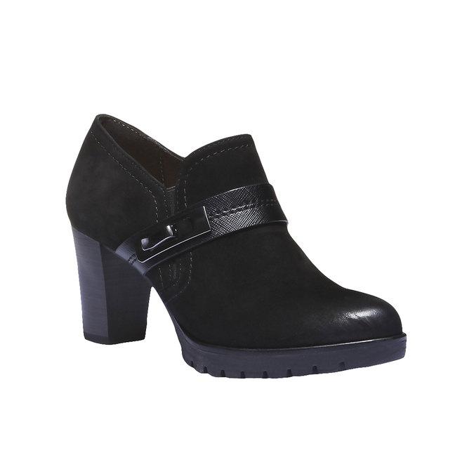 Kožená kotníčková obuv na podpatku bata, černá, 696-6102 - 13