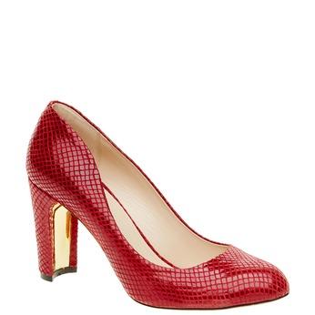 Červené kožené lodičky bata, 724-5443 - 13