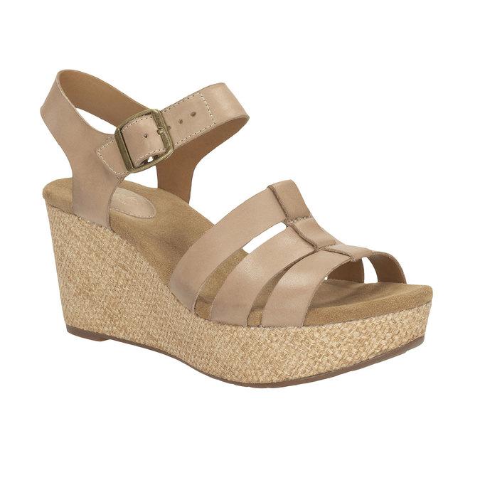 Kožené sandály na platformě clarks, béžová, 764-8002 - 13