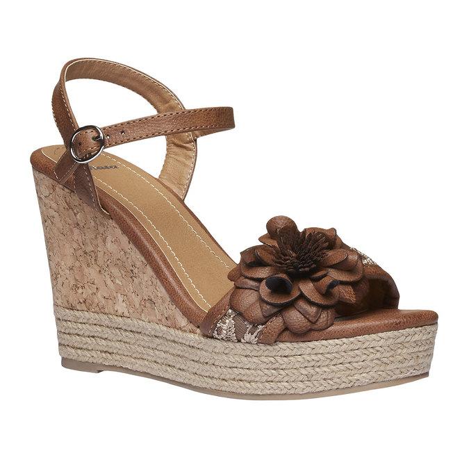 Sandály na platformě s kytičkou bata, hnědá, 761-4529 - 13