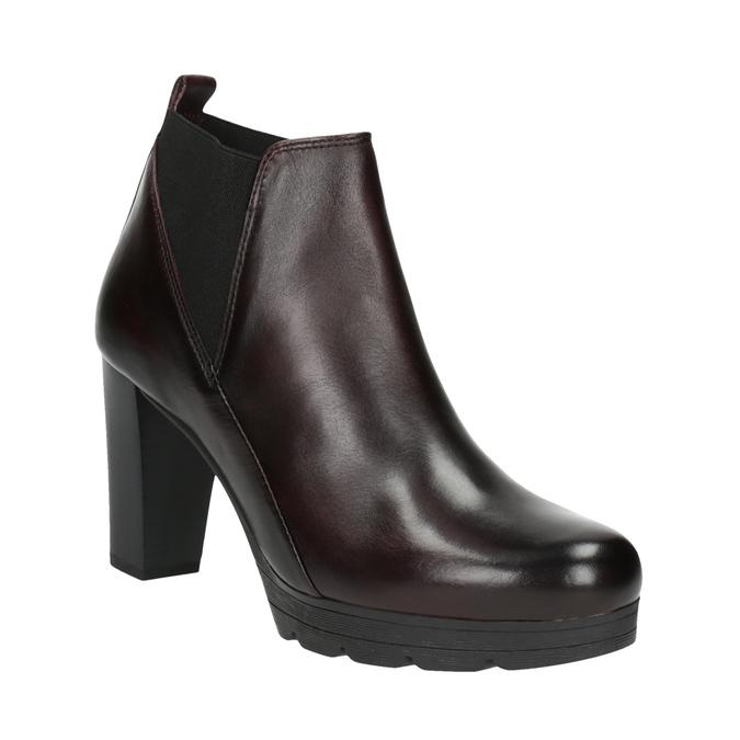 Kožená kotníčková obuv na vysokém podpatku bata, 796-5605 - 13