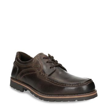 Kožené polobotky s prošitím na špici bata, hnědá, 826-4640 - 13