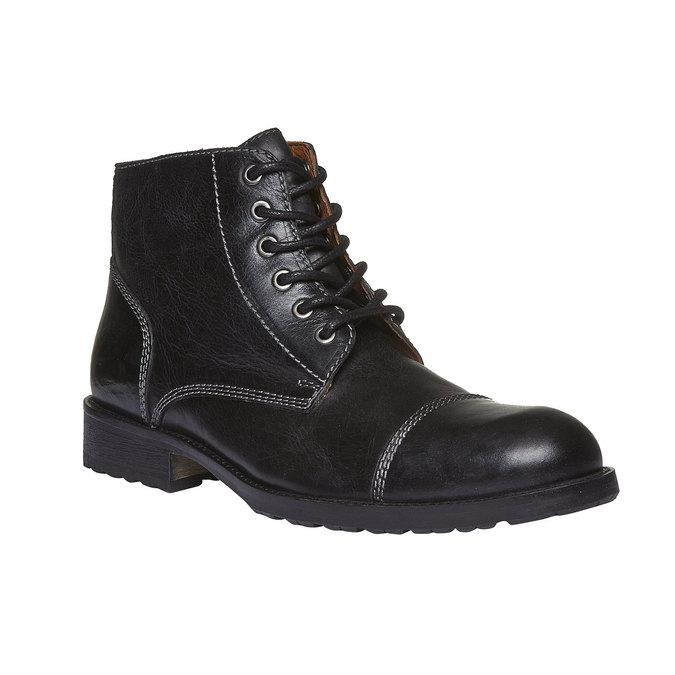 Kožené kotníkové boty s výrazným prošitím bata, černá, 894-6125 - 13