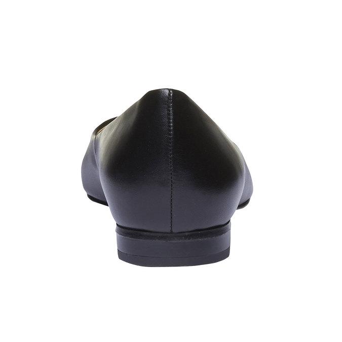 Černé kožené baleríny do špičky bata, černá, 524-6493 - 17