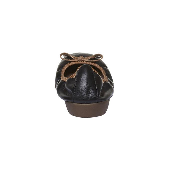 Černé kožené baleríny bata, černá, 524-6485 - 17