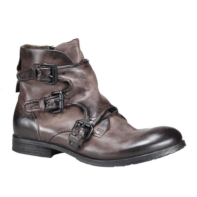 Kožená kotníčková obuv a-s-98, hnědá, 896-4009 - 13