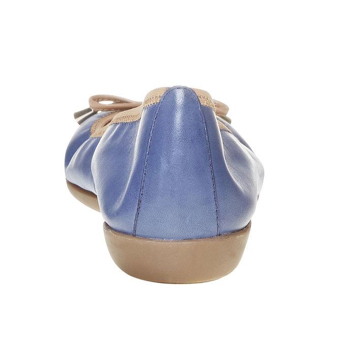 Dámské kožené baleríny bata, modrá, 524-9485 - 17