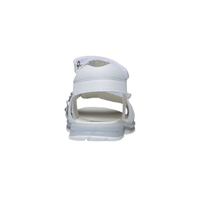 Bílé kožené sandály mini-b, bílá, 264-1163 - 17