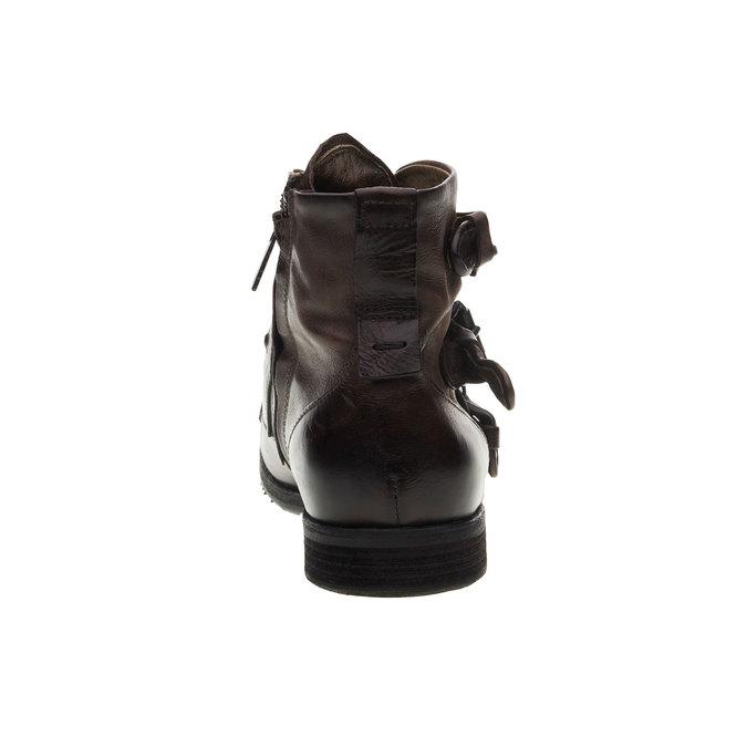 Kožená kotníčková obuv a-s-98, hnědá, 896-4009 - 17