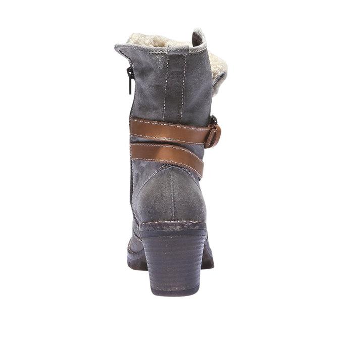 Kožené kozačky s páskem bata, šedá, 693-2143 - 17