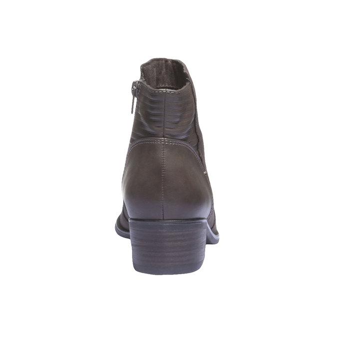 Kožená kotníčková obuv s prošíváním bata, šedá, 596-2103 - 17