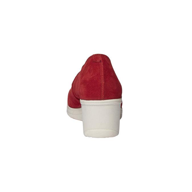 Kožené lodičky na klínovém podpatku bata-touch-me, červená, 613-5110 - 17