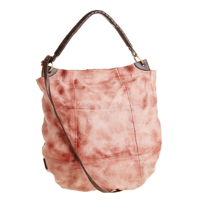 Kožená kabelka s řemínky a-s-98, růžová, 966-5002 - 26