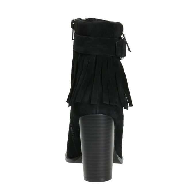 Kožené kotníčkové kozačky s třásněmi bata, černá, 793-6602 - 17