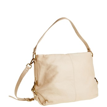 Kožená kabelka s popruhem bata, béžová, 964-1187 - 13
