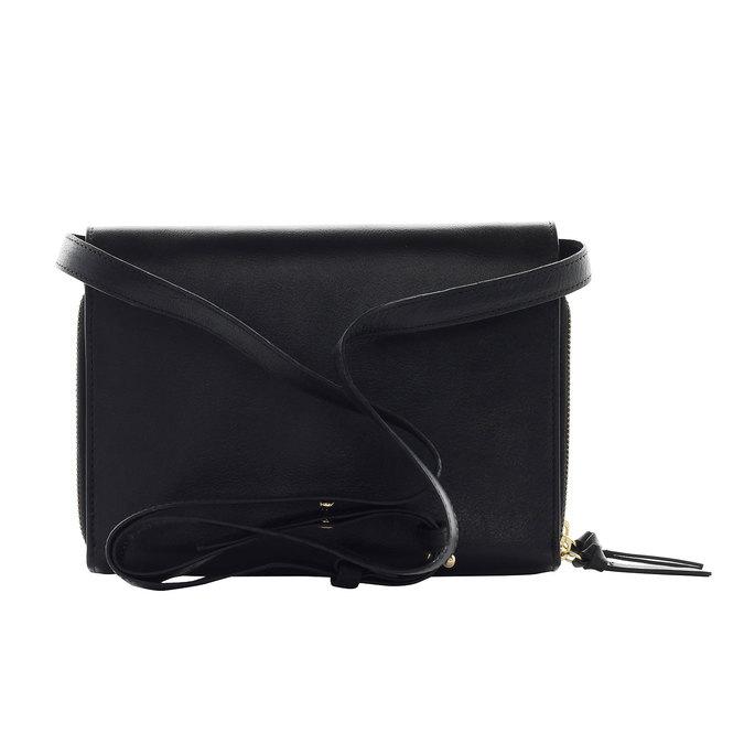 Kožená Crossbody kabelka se zlatými zipy royal-republiq, černá, 964-6192 - 17