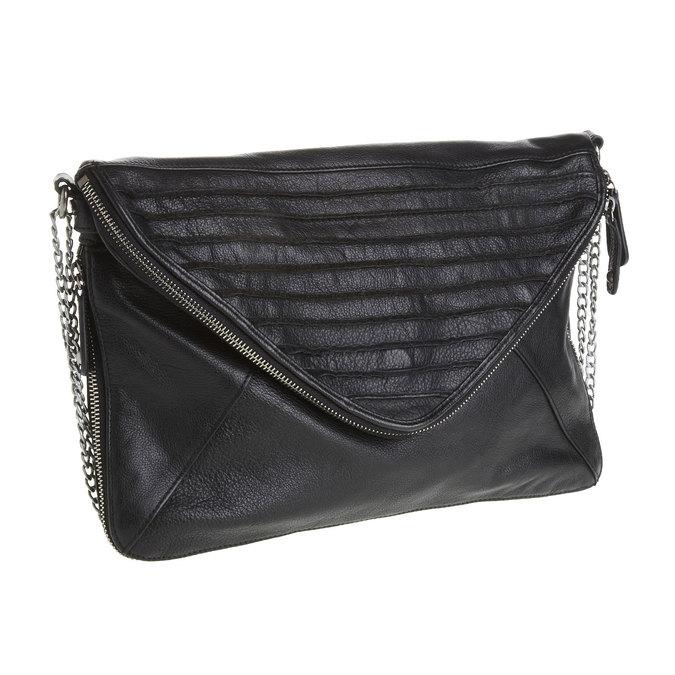 Menší kožená kabelka s klopou fredsbruder, černá, 964-6092 - 13