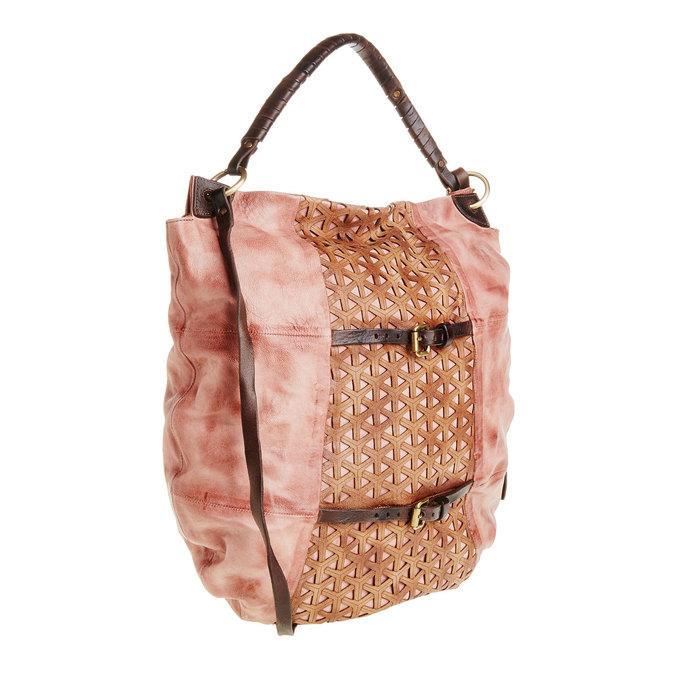 Kožená kabelka s řemínky a-s-98, růžová, 966-5002 - 13