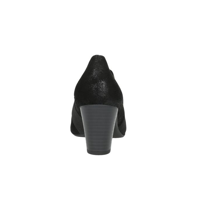 Dámské kožené polobotky na podpatku gabor, černá, 716-6100 - 17
