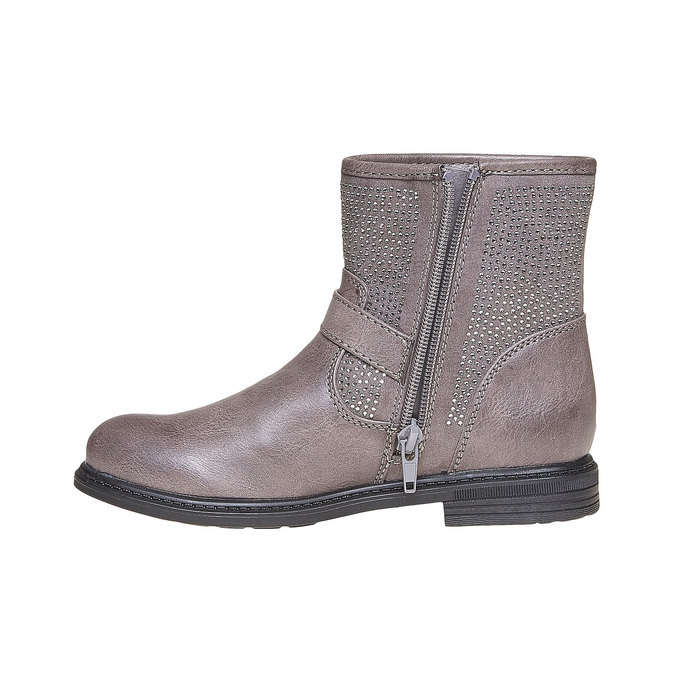 Dětská kotníčková obuv s kamínky mini-b, šedá, 391-2249 - 19