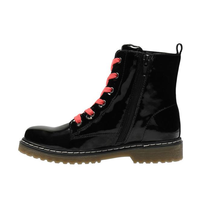 Dívčí kotníčková obuv s růžovým šněrováním mini-b, černá, 321-6600 - 26