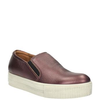 Kožené Slip-on na široké podešvi bata, fialová, 526-5605 - 13