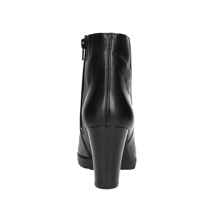 Kožená kotníčková obuv na podpatku hogl, černá, 794-6019 - 17