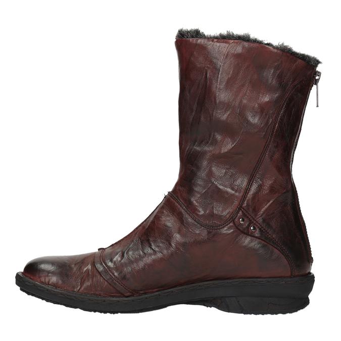 Dámská kožená obuv se zateplením bata, červená, 596-5624 - 19