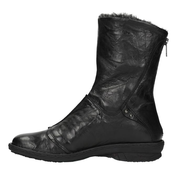 Kožená kotníčková obuv se zateplením bata, černá, 596-6624 - 19