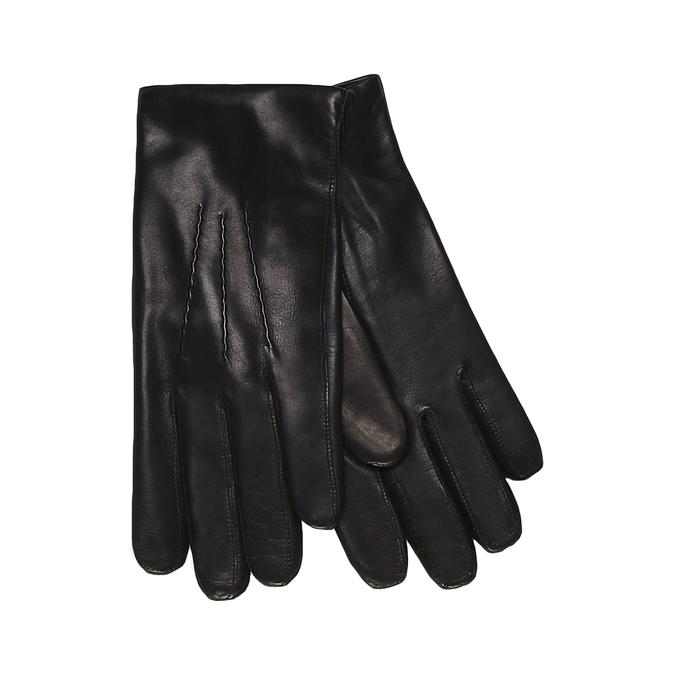 Kožené rukavice s vlněnou podšívkou junek, černá, 924-6026 - 13