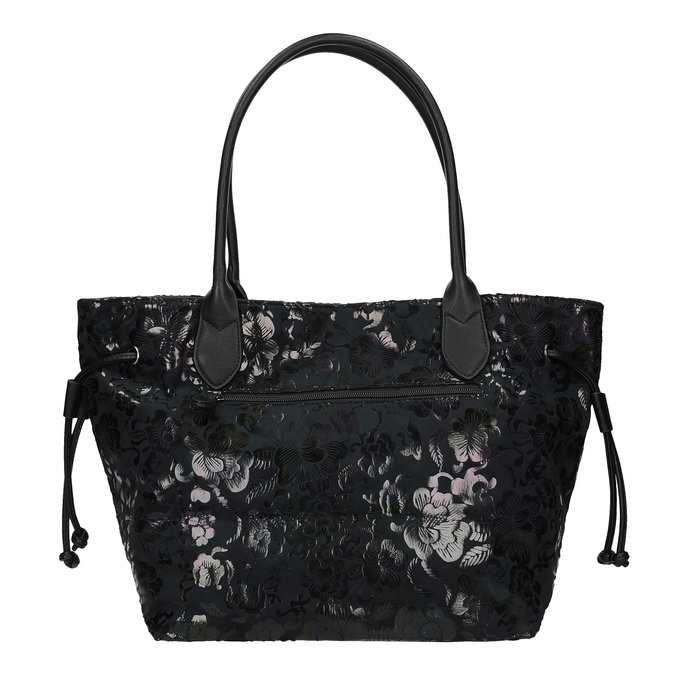 Černá kabelka s květinovým vzorem gabor-bags, černá, 961-6008 - 19