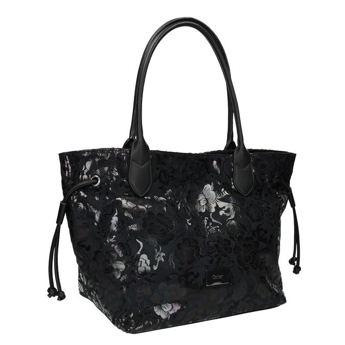 Černá kabelka s květinovým vzorem gabor-bags, černá, 961-6008 - 13