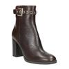Kožená kotníčková obuv na podpatku bata, hnědá, 794-4635 - 13