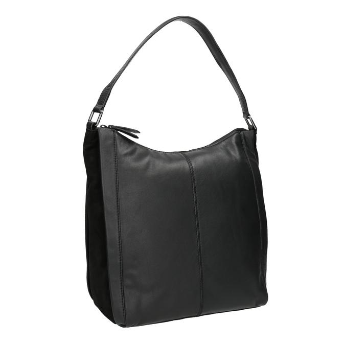 Kožená kabelka v Hobo stylu černá bata, černá, 964-6254 - 13