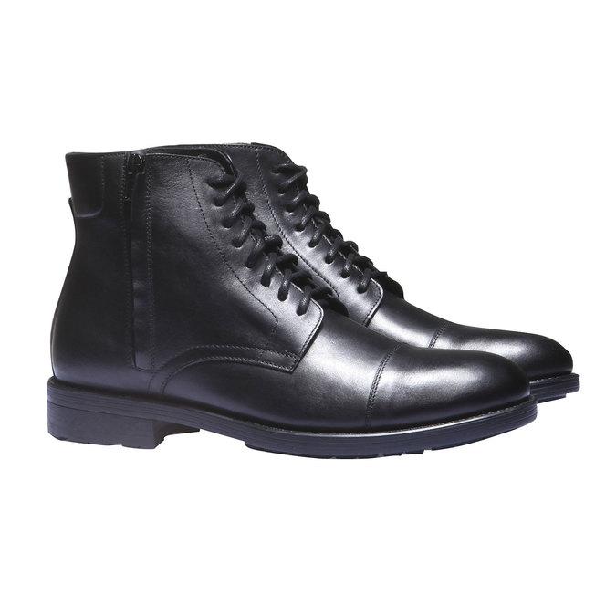 Kožené kotníkové boty v Derby střihu bata, černá, 894-6259 - 26