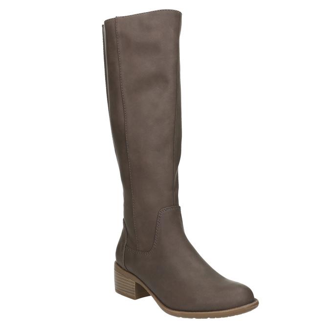 Dámské kozačky na nízkém podpatku bata, hnědá, 691-4600 - 13