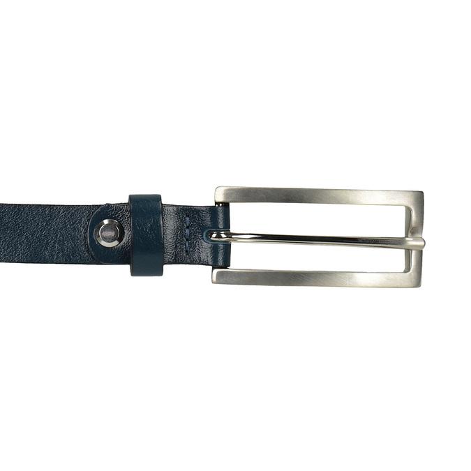 Kožený opasek s obdélníkovou sponou wildskin, modrá, 954-9013 - 26