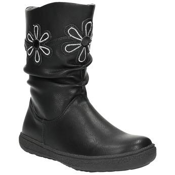 Dívčí kozačky s květinami mini-b, černá, 291-6602 - 13