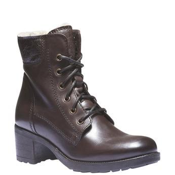 Kožené šněrovací boty se zateplením bata, hnědá, 694-4100 - 13