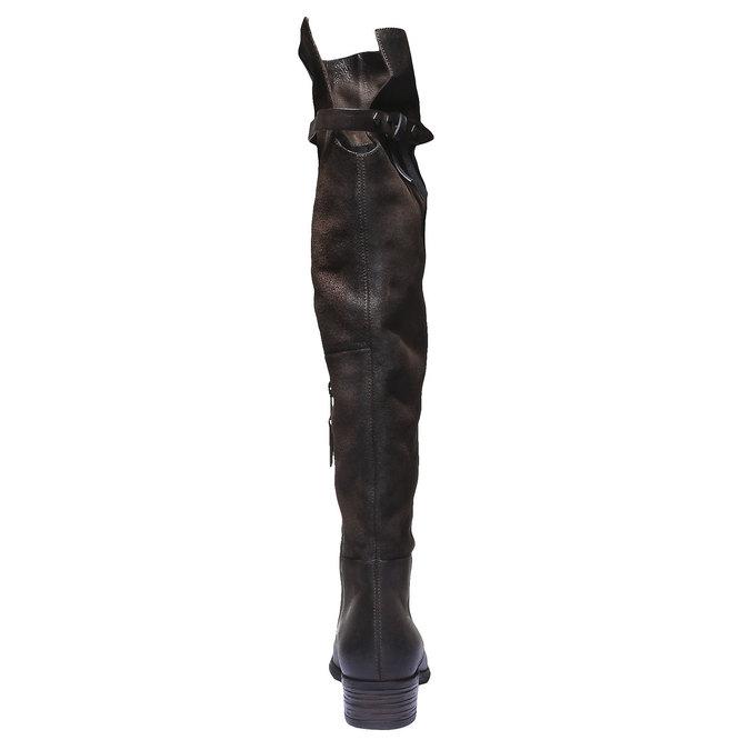 Kožené kozačky bata, hnědá, 596-4107 - 17
