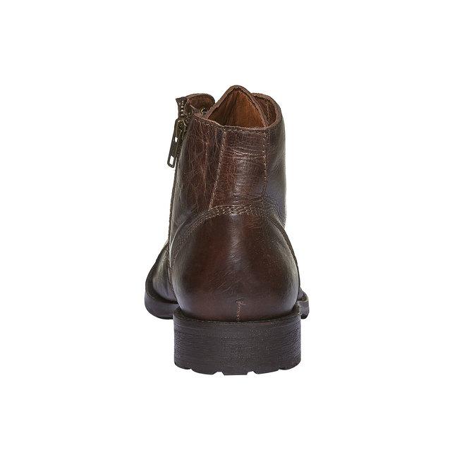 Kožené kotníkové boty s výrazným prošitím bata, hnědá, 894-4125 - 17