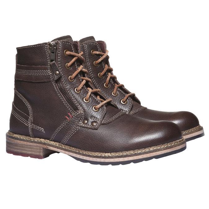 Kožené kotníčkové boty se zipem bata, hnědá, 894-4128 - 26