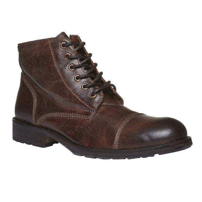 Kožené kotníkové boty s výrazným prošitím bata, hnědá, 894-4125 - 13