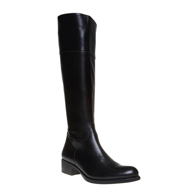 Vysoké kožené kozačky bata, černá, 594-6223 - 13