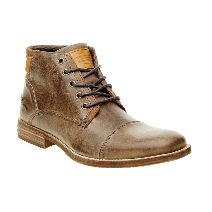 Kožená kotníčková obuv pánská bata, šedá, 894-2620 - 13