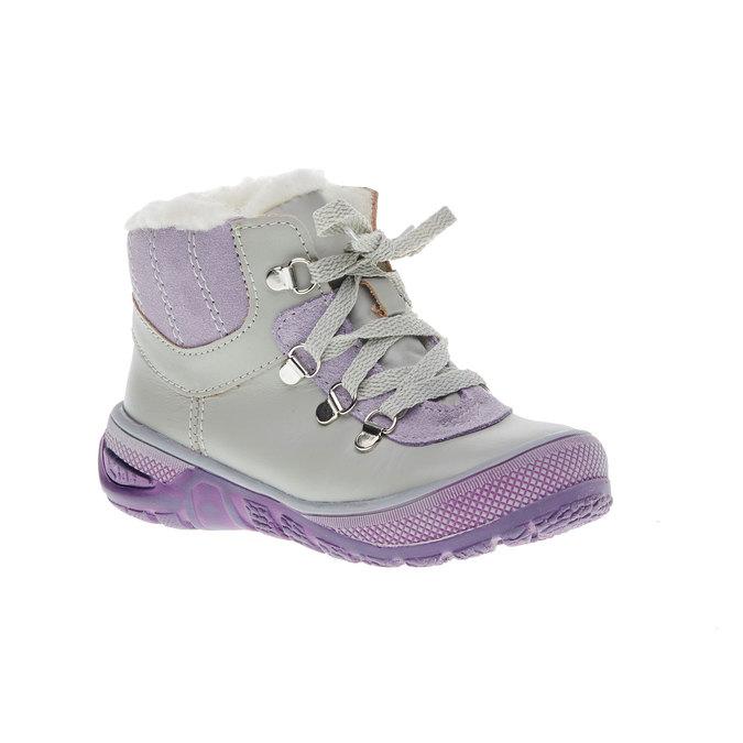 Kožené zimní boty ke kotníkům mini-b, šedá, 124-2105 - 13