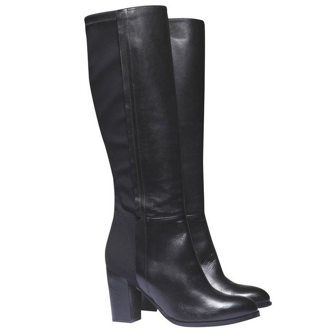 Kožené kozačky na podpatku bata, černá, 794-6604 - 26
