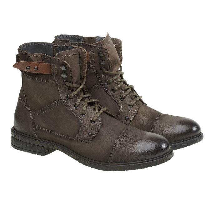 Kožené kotníkové boty bata, šedá, 894-2165 - 26