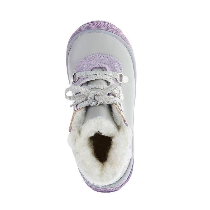 Kožené zimní boty ke kotníkům mini-b, šedá, 124-2105 - 19