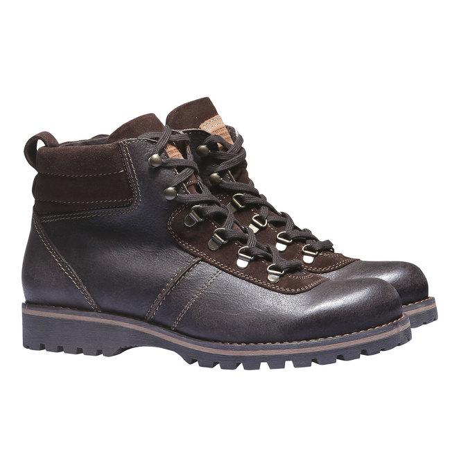 Kožená kotníčková obuv bata, hnědá, 894-4343 - 26